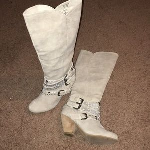 Sparkling Taupe/Creme High Fashion Riding Boots